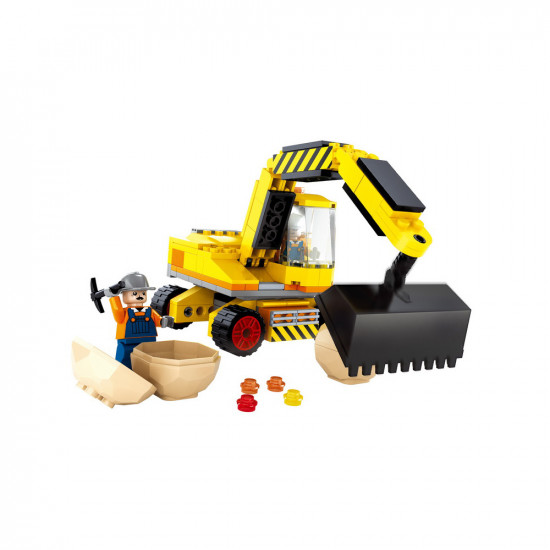 Excavator constructor with driver and worker + clods of earth 176 parts
