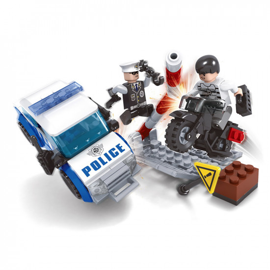 Police Car constructor, Motorcycle criminal and Police officer 127 Parts