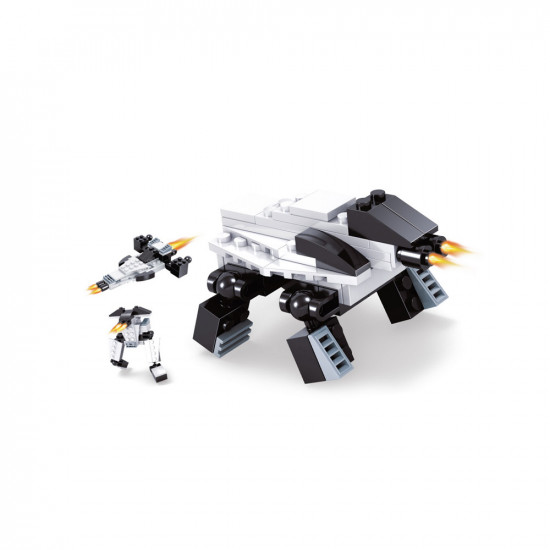 Monster constructor and 2 mini robots in white color 42 parts